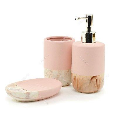 Kit de Banheiro em Cerâmica Mármore e Rosa