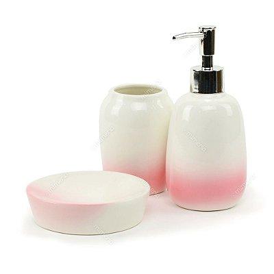 Kit de Banheiro em Cerâmica Branco e Rosa