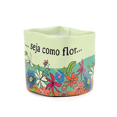Cachepô de PVC Estampado Floral Grande