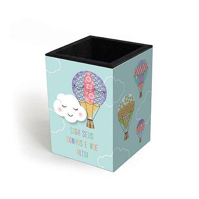 Porta-Lápis Decorado Nuvem e Balão