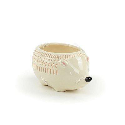 Cachepô de Cerâmica Ouriço Branco Grande