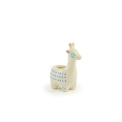 Mini Cachepô de Cerâmica Girafa Branca