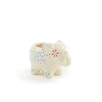 Mini Cachepô de Cerâmica Elefante Branco
