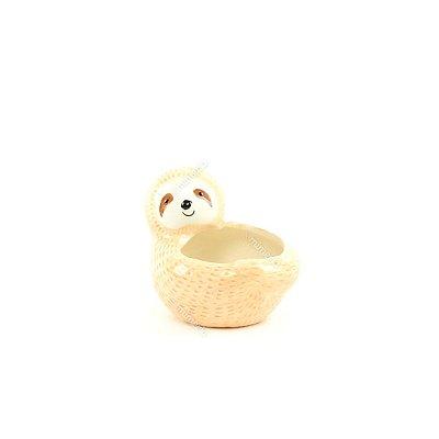 Mini Cachepô de Cerâmica Bicho-Preguiça Bege