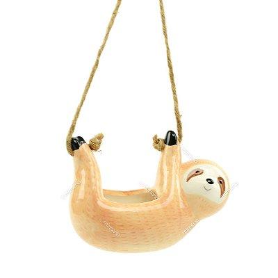 Cachepô de Cerâmica Bicho-Preguiça Bege Grande
