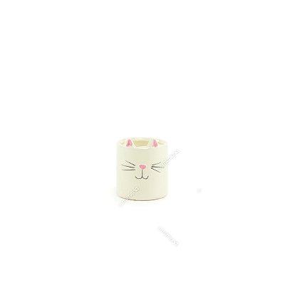 Mini Cachepô de Cerâmica Gato Branco