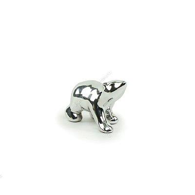 Urso Polar Decorativo de Cerâmica Prata