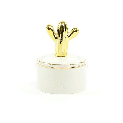 Mini Caixa de Cerâmica Redonda Cacto Dourado e Branco