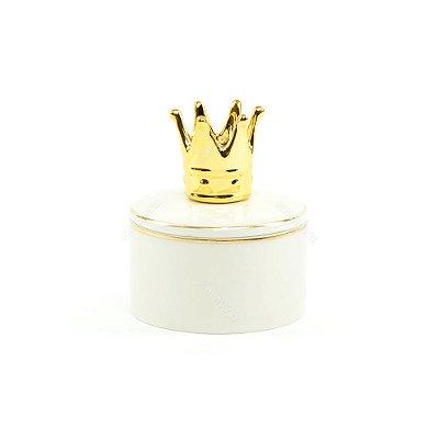 Mini Caixa de Cerâmica Redonda Coroa Dourada e Branca