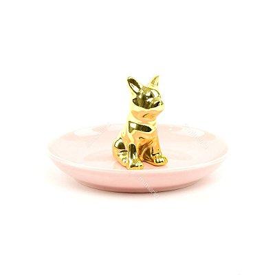 Porta-Joias de Cerâmica Cachorro Dourado e Rosa