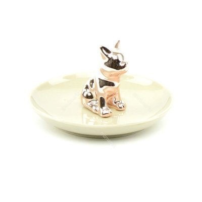 Porta-Joias de Cerâmica Cachorro Rose Gold e Cinza