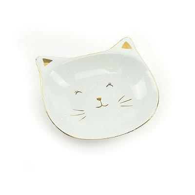 a5eec9d34 Caixa Redonda de Cerâmica Gato Branco e Dourado Grande - Mimeria ...