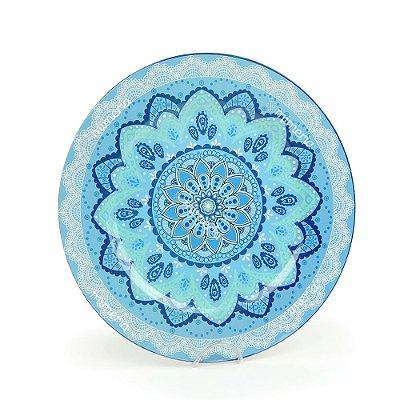 Prato Sousplast de Plástico Mandala Azul e Verde