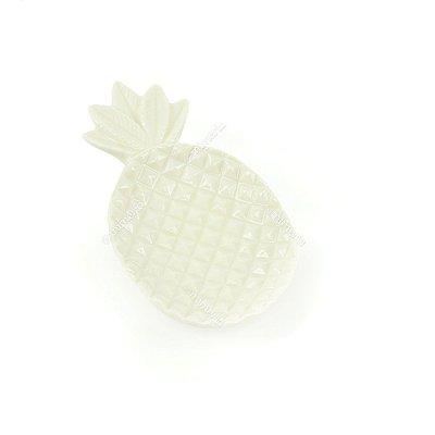 Petisqueira de Cerâmica Abacaxi Branco Pequena