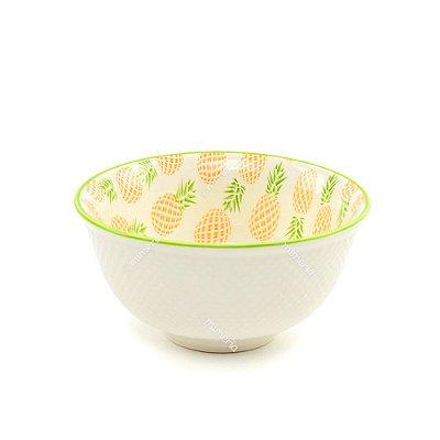 Bowl de Cerâmica Abacaxi Amarelo e Verde Pequeno
