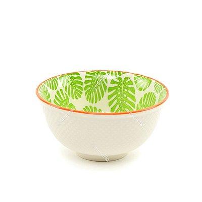 Bowl de Cerâmica Folhas Costela de Adão Verde Claro Pequeno
