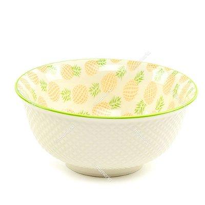 Bowl de Cerâmica Abacaxi Amarelo e Verde Grande