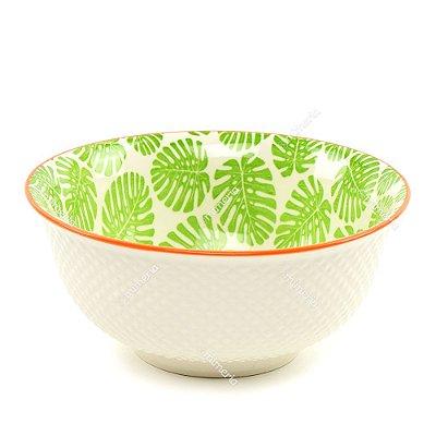 Bowl de Cerâmica Folhas Costela de Adão Verde Claro Grande