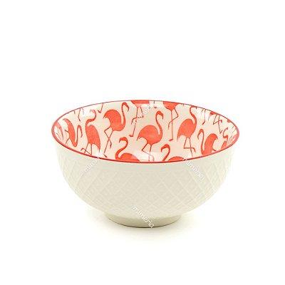 Bowl de Cerâmica Flamingos Vermelhos Pequeno