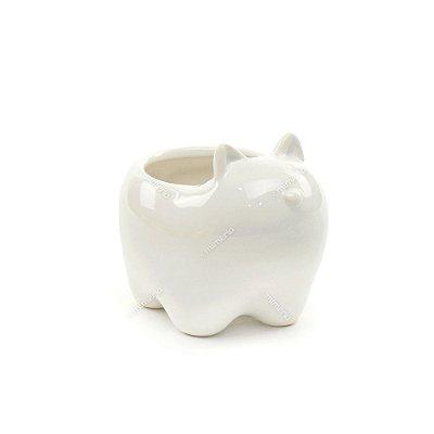 Cachepô de Cerâmica Gato Branco