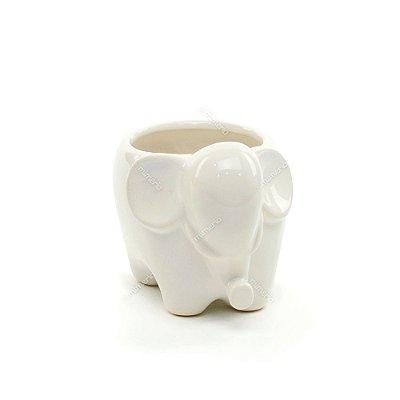 Cachepô de Cerâmica Elefante Branco