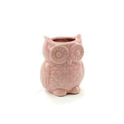 Cachepô de Cerâmica Coruja Rosa Pequena