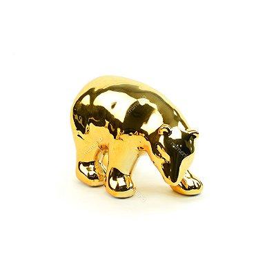 Urso Polar Decorativo em Cerâmica Dourado Grande