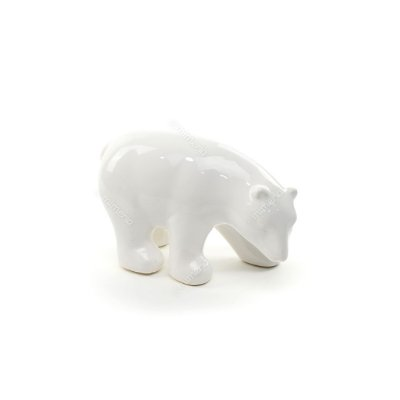 Urso Polar Decorativo em Cerâmica Branco Grande