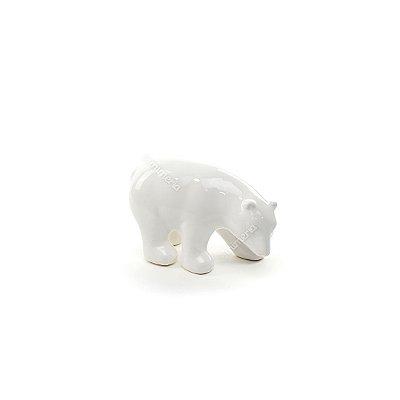 Urso Polar Decorativo em Cerâmica Branco Pequeno