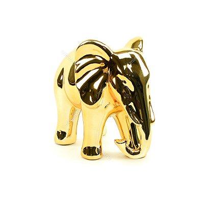 Elefante Decorativo em Cerâmica Dourado Grande