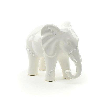 Elefante Decorativo em Cerâmica Branco Grande