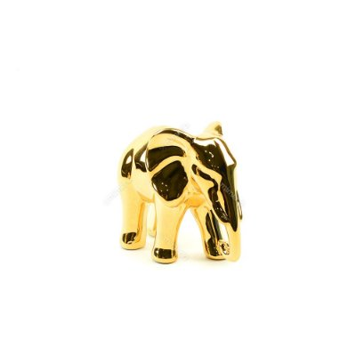 Elefante Decorativo em Cerâmica Dourado Pequeno