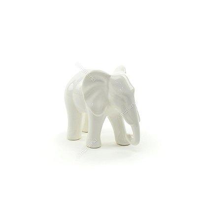 Elefante Decorativo em Cerâmica Branco Pequeno