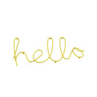 Letreiro Decorativo em Metal Hello Dourado