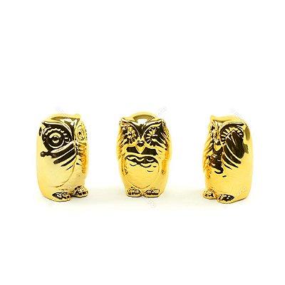 Kit Coruja Decorativa em Cerâmica Não Fala, Não Ouve, Não Vê Dourado