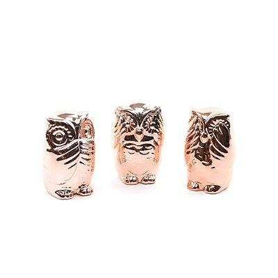 Kit Coruja Decorativa de Cerâmica Não Fala, Não ouve, Não Vê Rose Gold