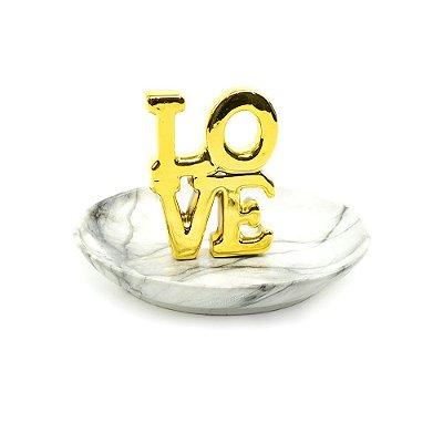 Porta-Joias de Cerâmica Love Dourado
