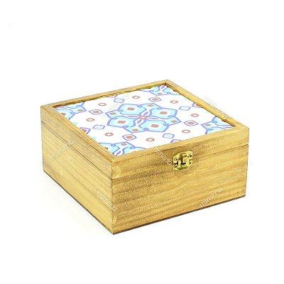 Caixa de Chá Pinus Azulejo Istambul Azul