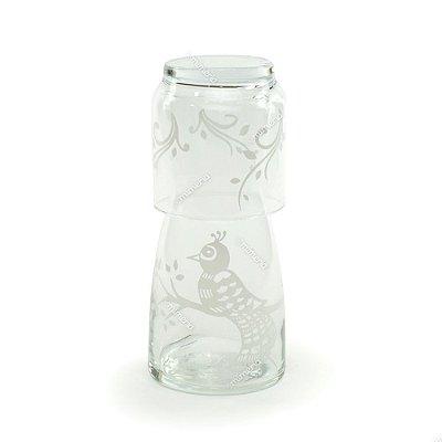Moringa de Vidro Pavão Branca 500 ml