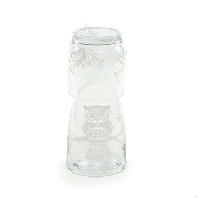 Moringa de Vidro Coruja Branca 500 ml