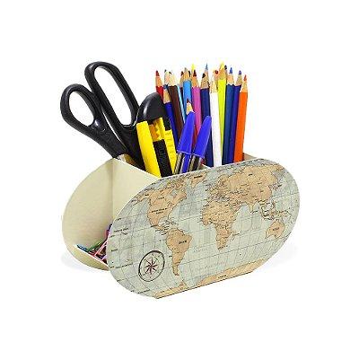 Porta-Lápis em Aço Mapa Mundi