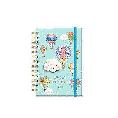 Caderno Médio Decorado com Aplique Nuvem e Balão