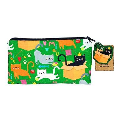 Necessaire Gatos Verde Pequena