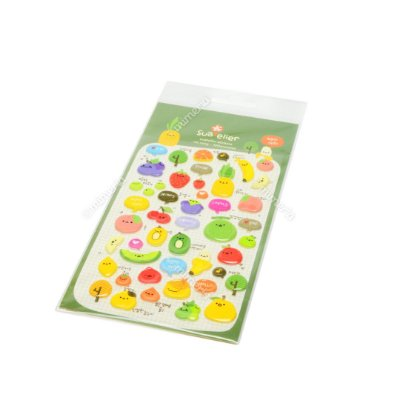 Cartela de Adesivos Stickers Frutas em Alto Relevo