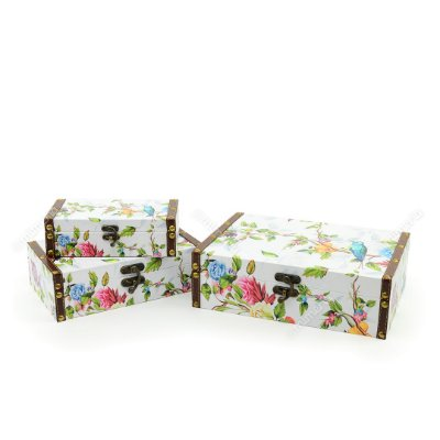 Conjunto 3 Caixas com Fecho Pássaro Branco