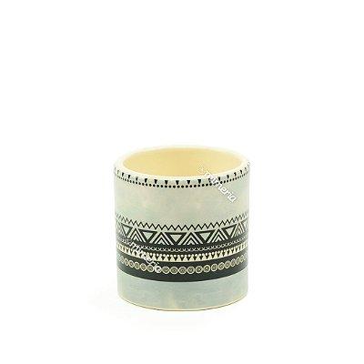 Mini Vaso em Cerâmica Triângulos Preto e Cinza