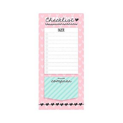Bloco de Notas Imã Checklist Corações Rosa