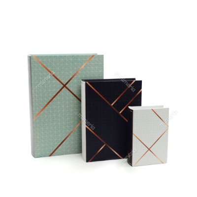 Conjunto 3 Livros Caixa Decorativos Quadriculado