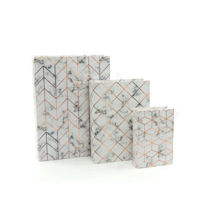 Conjunto 3 Livros Caixa Decorativos Marmorizado Branco