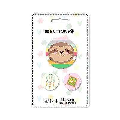Kit 3 Buttons Preguiça